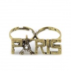 Eiffel Tower Rhinestone Ring with the Word PARIS - Coppery