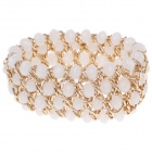 Retro Multilayer Crystal Wide Bracelet - White + Golden