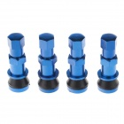 Universal Aluminum Alloy Tire Valve Caps - Blue + Black (4 PCS)