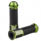 QC-H-288H Replacement Motorcycle Aluminum Alloy Mechanical Cutting Handle Grips - Black + Green