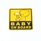 DY001 Light Reflective Baby On Board Car Sticker - Yellow + Black