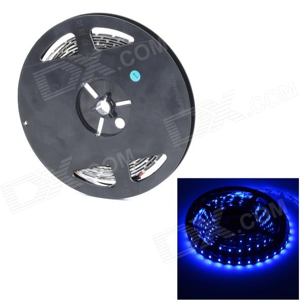 Impermeable 24W 490nm 300-3528 SMD LED luz azul decoración luz de la decoración de la tira - Negro (5M)