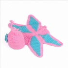 Butterfly Style Cotton Children's Knitted Cap - Pink