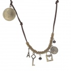 Retro Love Lock / Coin Pendant Women's Sweater Chain - Bronze + Brown