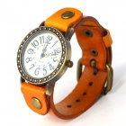 Fashionable Retro Style PU leather Band Quartz Analog Wrist Watch - Yellow + Bronze (1 x 626)