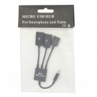Micro USB Male to 2-Port USB 2.0 Female + Micro USB Female HUB - Black