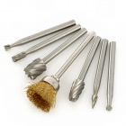 7-in-1 High Speed Steel Milling Cutters / Rotary File / Polishing Wire Brush Set - Silver