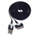 Flat 30-Pin Male to USB 2.0 Male Data Sync / Charging Cable for iPhone 4 / 4S / iPad 2 / 3 - Black