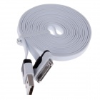 Flat 30-Pin Male to USB 2.0 Male Data Sync / Charging Cable for iPhone 4 / 4S / iPad 2 / 3 - White