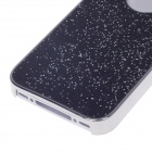 Fashionable Shiny Protective Plastic Back Case For Iphone 4 / 4S - Black + Silver