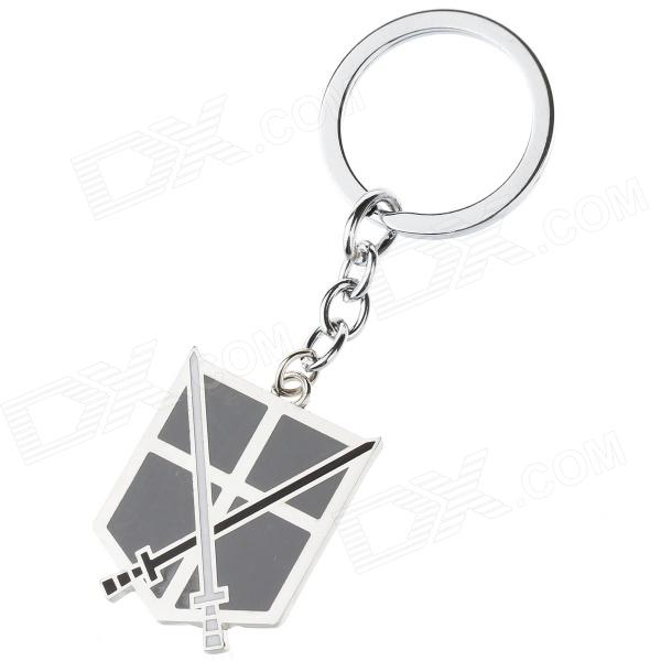 Anime Style Double Swords Pattern Zinc Alloy Keyring / Keychain - Black + White + Silver creative double loop handcuffs style zinc alloy keychain copper
