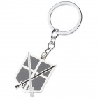 Anime Style Double Swords Pattern Zinc Alloy Keyring / Keychain - Black + White + Silver
