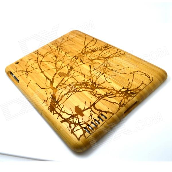 Carved Birds on Tree Pattern Protective Wooden Back Case for Ipad 2 - Brown