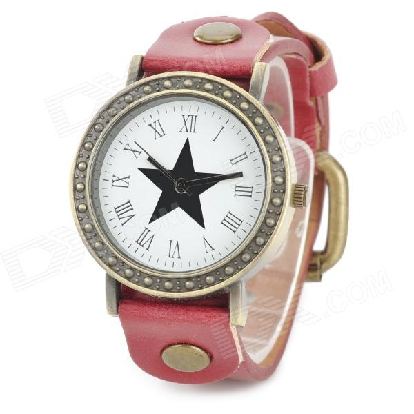Woman's Stylish Star Pattern Dial Analog Quartz Wrist Watch w/ PU Leather Band - Red (1 x 377)