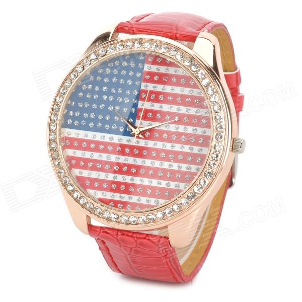Woman's Stylish Crystal Inlaid Flag Pattern Dial Analog Quartz Wrist Watch w/ PU Band (1 x 377)