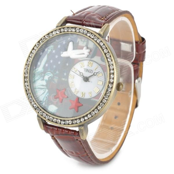 Woman's Stylish Statue of Liberty Pattern Dial w/ Shiny Crystal Ring Analog Wrist Watch (1 x 377)