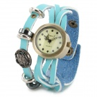 Woman's Fashionable Bracelet Style Analog Wrist Watch w/ PU Leather Band - Blue + Brass (1 x 377)