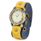 Woman's Retro Flower Dial Analog Quartz Wrist Watch w/ PU Leather Band - Yellow + Brass (1 x 377)