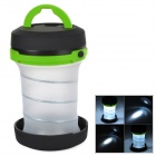 Outdoor Mini Retractable White Light 3 Mode Lamp Lantern w/ Hanging Hook - Black + Green