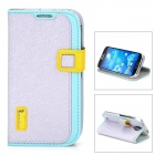 HELLO DEERE Ice Crystal Series Flip-open PU Leather Case w/ Holder for Samsung S4 i9500 - Silver