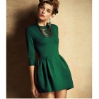 Woman's Stylish Retro Cotton Dress - Green