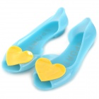 Lovely Heart Style Flat Heel Crystal Jelly Sandal Shoes - Blue + Yellow (EU 40)