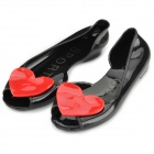 Woman's Fashionable Water Proof PVC Peep-toe Flats w/ Red Heart Ornament - Black + Red (Pair / 38)