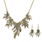 Woman's Fashionable Hand Palm Style Pendant Necklace + Earrings Zinc Alloy Set - Brass