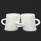 Lover Hug Style Ceramic Couple Cup - Black + White (2 PCS)