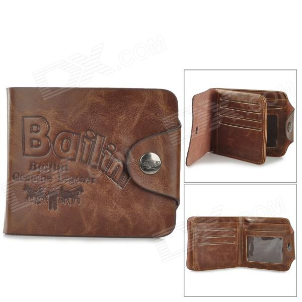 Men's Stylish Durable Folding Split Leather Wallet w/ Card Slot - Coffee