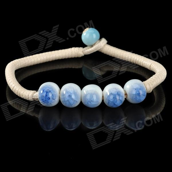 Woman's Fashionable Simplistic Rosary Bead Bracelet String - White + Blue