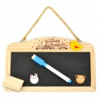 Cute Mini Hanging Style Black / White Message Board w/ Pen + Eraser + Chalk - Black + White + Yellow