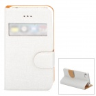 REMAX Protective Flip-open PU Leather Case w/ Visual Window for Iphone 4 / 4S - White