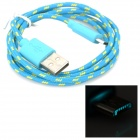 USB Male to Micro USB Male Data Sync & Charging Cable - Blue + Yellow (100cm)