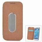 Wood Grain Style Protective PU Leather + Aluminum Case for Samsung Galaxy S4 i9500 - Brown + Silver