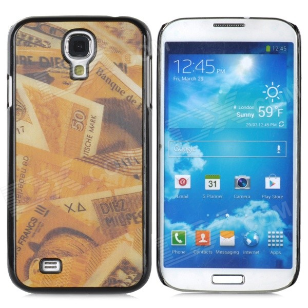 3D Cash Style Protective Plastic Back Case for Samsung Galaxy S4 i9500 - Golden + Black london street style protective plastic back case for samsung galaxy s4 i9500 black red
