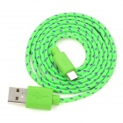 USB Male to Micro USB Male Braided Data Sync & Charging Cable - Green (90cm)
