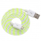 USB Male to Micro USB Male Braid Data Sync & Charging Cable - Yellow + White (100cm)