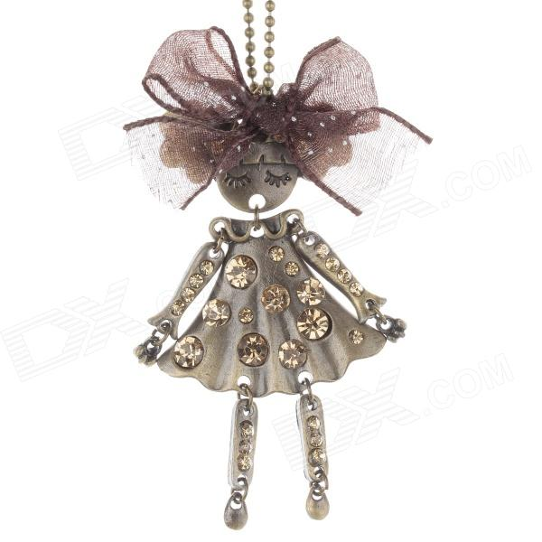 Retro Girl Style Pendant w/ Shiny Rhinestone Long Necklace for Women - Bronze antique style bronze doctor who quartz pocket watch men women fob clock pendant gift with necklace chain