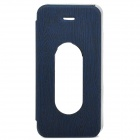 Fashion Wood Grain PU Leather Case for Iphone 5 - Blue