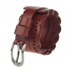 T.acttion 80514559 Fashion Head Layer Cowhide Lace Women's Waist Belt w/ Zinc Alloy Buckle - Brown