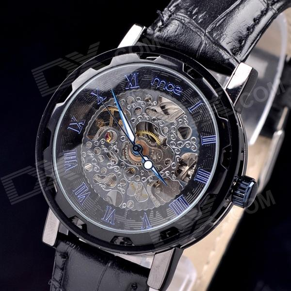 MCE 01-0060207 Men's Stylish Skeleton Analog Semi-automatic Mechanical Wrist Watch - Black
