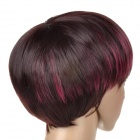 Fashion Short  BoBo Style High Temperature Silk Highlight Straight Hair Wig - Wine Red