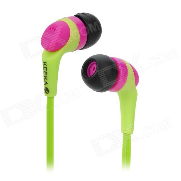 KEEKA KA-09 Stylish Universal 3.5mm Jack Wired In-ear Headset for Cellphone - Green + Purple keeka mic 103 stylish universal 3 5mm jack wired in ear headset w microphone red blueish green