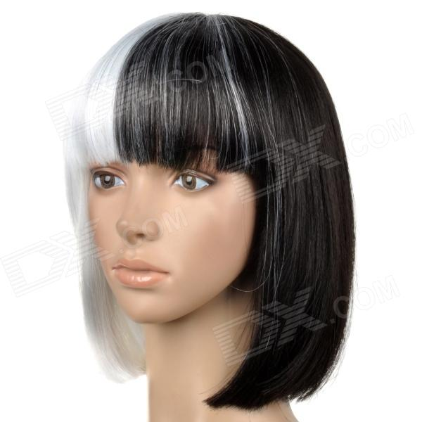 6367 2-1001 Stylish Middle Separated Color Short Straight Silk Hair Wig - Black + White