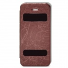 Protective PU Leather Dual Window Case for Iphone 5 - Brown