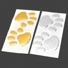 Dog's Footprint Pattern Plastic Decorative Car Stickers Set - Golden + Silver