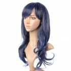 Anime Sheryl Style Long Curly High Temperature Silk Highlight Hair Wig - Black + Blue