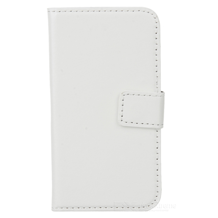 AZNS Elegante PU Leather Flip-Aberto Stand Case para iPhone 4 / 4S - Branco