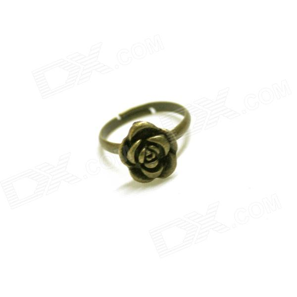 Retro Rose Style Zinc Alloy Ring for Women - Bronze